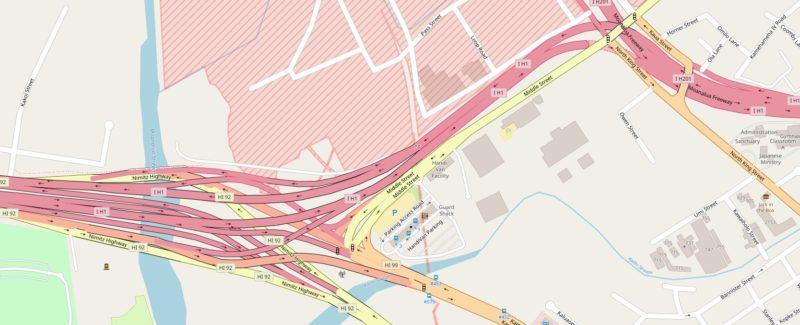 ホノルル空港近くの入り組んだフリーウェイマップ