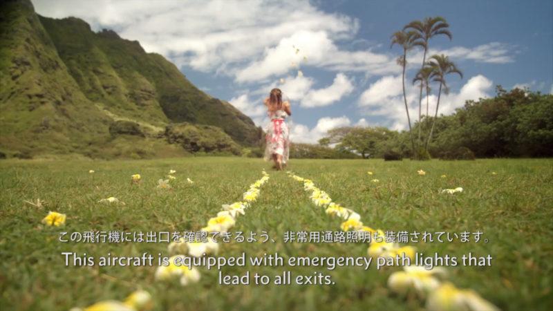ハワイアン航空の機内安全ビデオイメージ9