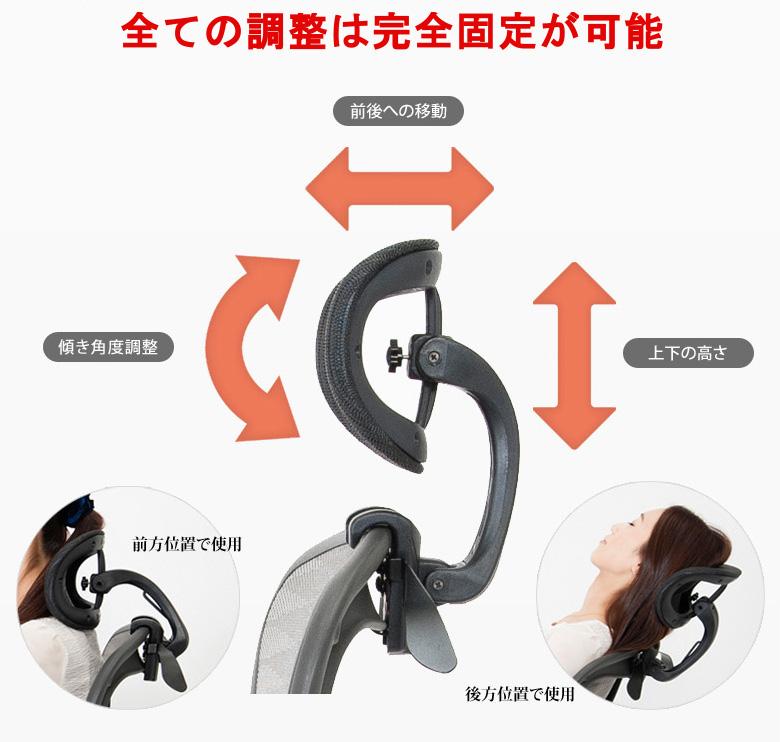 ヘッドレストの調整範囲と固定
