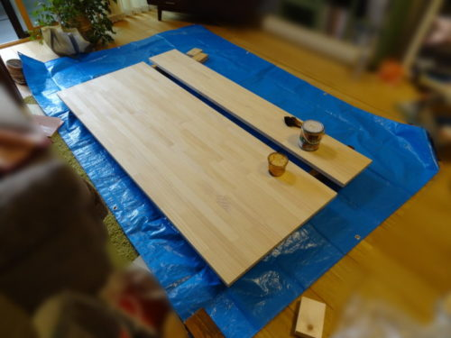 机の天板塗装準備