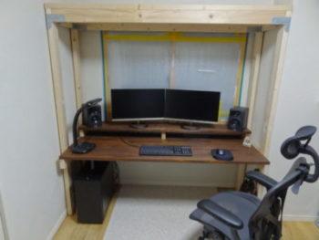 書斎の机のDIY最終段階