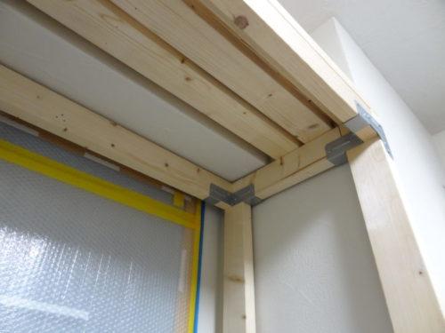 新書斎デスクの骨組み完成天井部