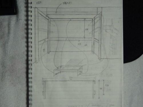書斎デスクの設計図